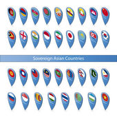 Pin flags of the Sovereign Asian Countries — Stock Vector