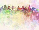 Sao Paulo skyline in watercolor background — Stock Photo