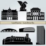 Постер, плакат: Ljubljana landmarks and monuments