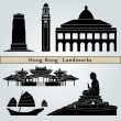 Hong Kong landmarks and monuments — Imagen vectorial