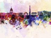 Washington DC skyline in watercolor background — Stock Photo