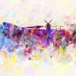 Amsterdam skyline in watercolor background — Foto Stock