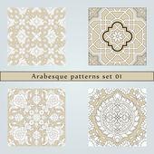 Set of four arabesque seamless pattern — Stock Vector