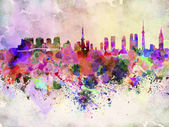Tokyo skyline in watercolor background — Stock Photo
