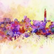Taipei skyline in watercolor background — Stock Photo