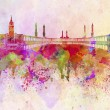 Stockfoto: Meccskyline in watercolor background