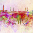 Foto Stock: Meccskyline in watercolor background