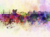 Copenhagen skyline in watercolor background — Stock Photo