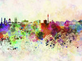 Berlin skyline in watercolor background — Stock Photo