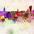 Stock Photo: Stockholm skyline in watercolor background