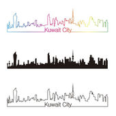 Kuwait City skyline linear style with rainbow — Stock Vector