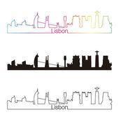 Lisbon skyline linear style with rainbow — Stock Vector
