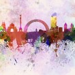 Kiev skyline in watercolor background — Stock Photo