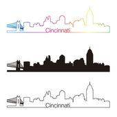 Cincinnati skyline linear style with rainbow — Stock Vector