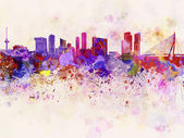 Rotterdam skyline in watercolor background — Stock Photo