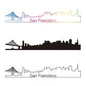 San Francisco skyline linear style with rainbow — Stock Vector