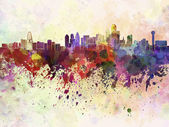 Dallas skyline in watercolor background — 图库照片