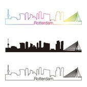 Rotterdam skyline linear style with rainbow — Vettoriale Stock