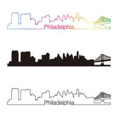 Philadelphia skyline linear style with rainbow — Stock Vector