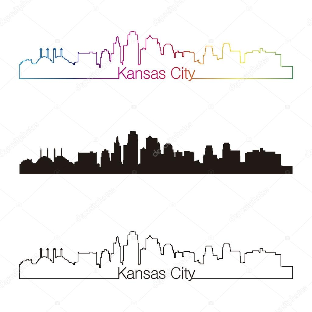 Line Drawing Ks : Kansas city skyline linear style with rainbow — stock