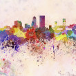 Jacksonville skyline in watercolor background — Stock Photo