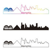 Memphis skyline linear style with rainbow — Stock Vector
