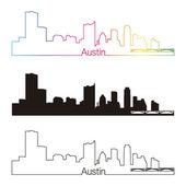 Austin skyline linear style with rainbow — Stock Vector