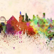 Memphis skyline in watercolor background — Stok fotoğraf