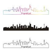 Frankfurt skyline linear style with rainbow — Stock Vector