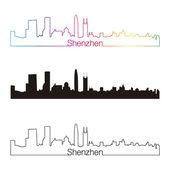 шэньчжэнь skyline линейный стиль с радуги — Cтоковый вектор