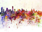 Liverpool skyline in watercolor background — Stock Photo