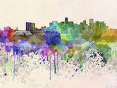 Denver skyline in watercolor background — Stock Photo