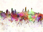 Gold Coast skyline in watercolor background — Stock Photo