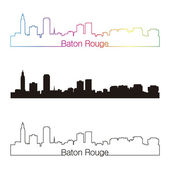 Baton Rouge skyline linear style with rainbow — ストックベクタ