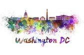 Washington DC skyline in watercolor — Stock Photo