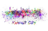 Kuwait City skyline in watercolor — Stock Photo