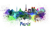 Paris skyline in watercolor — Stock Photo
