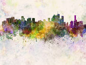 Brisbane skyline in watercolor background — Stock Photo