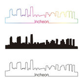 Incheon skyline linear style with rainbow — Vecteur