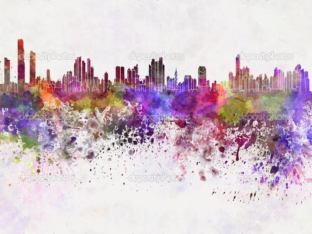 panama city skyline in watercolor background � stock photo