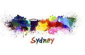 Sydney skyline in watercolor — Foto Stock