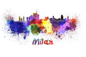 Milan skyline in watercolor — Foto Stock
