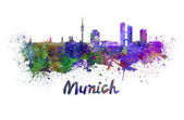 Munich skyline in watercolor — Photo