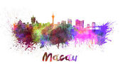 Macau skyline in watercolor — Foto Stock