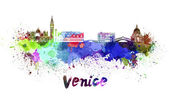 Venice skyline in watercolor — Stock Photo