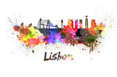 Lisbon skyline in watercolor — Foto Stock