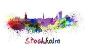 Stockholm skyline in watercolor — Foto Stock