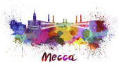 Mecca skyline in watercolor — Stock Photo