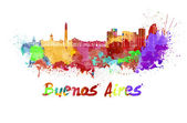 Buenos Aires skyline in watercolor — Stock Photo