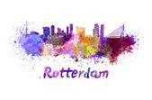 Horizonte de Rotterdam en acuarela — Foto de Stock